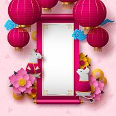 Chinese New Year 2020. Papercut Clothed Rat Character, Flowers, Clouds, Hanging Lanterns. Copy Space poster