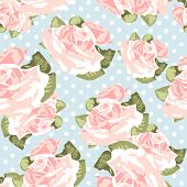 image of english rose  - Beautiful Seamless rose pattern with blue polka dot background - JPG
