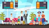 Airport Passengers Waiting For Flight Flat Vector Illustration. Travelers Sitting In Departure Loung poster