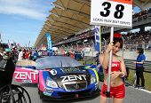SEPANG - JUNE 10: The Lexus SC430 car of Lexus Zent Cerumo Team waits on the starting grid on race d