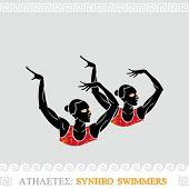 Greek art stylized synchronized swimmers duet
