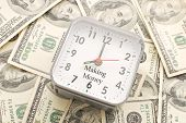 Clock With Making Money Caption On A Pile Of Hundred Dollar Bills