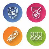 Set Line American Football Helmet And Shield, American Football Ball With Medal, American Football B poster