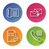Set Line Telephone, Envelope, Document With Minus And Telephone Handset. Color Circle Button. Vector poster