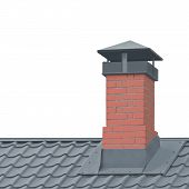 Red Brick Chimney, Grey Steel Tile Roof Texture, Isolated Tiled Roofing, Large Detailed Vertical Clo poster