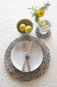 Table Place Setting With Beaded Mats