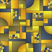 Creative Pattern With Eyes In Geometric Shapes Grid Mondrian Avant Garde Fashion Textile Print. Patc poster