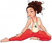 Posição de Yoga. Funny cartoon e vetor isolaram ilustração.