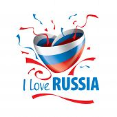 The National Flag Of The Russia And The Inscription I Love Russia. Vector Illustration poster