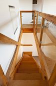 wooden staircase, rural home interior