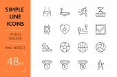 Set Fitness Tracker Simple Lines Icons Of Sport. Concept Collection Modern Symbols For Ball And Run, poster