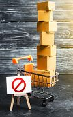 Trading Cart With Boxes And An Easel With A Prohibition Symbol No. Internet Trade Online Shopping Ba poster