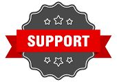 Support Red Label. Support Isolated Seal. Support poster