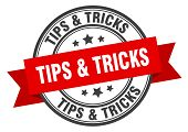 Tips And Tricks Label. Tips And Tricks Red Band Sign. Tips And Tricks poster