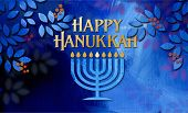 Graphic Illustration Of Hanukkah Menorah With Happy Hanukkah Holiday Message Amid Simple Cluster Of  poster