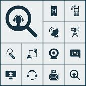 Communication Icons Set With Ip Camera, Communication Tower, Audio Adjustment And Other Assistant El poster