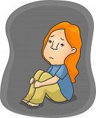 Illustration of a Depressed Girl Shedding a Tear
