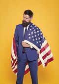 Businessman Bearded Man In Formal Suit Hold Flag Usa. Businessman Concept. Successful Businessman La poster