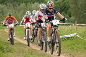 MOSCOW, RUSSIA - JUNE 9: Leading group in woman's race during European Mountain Bike Cross-country C