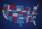 Mapa de Estados Unidos wordcloud