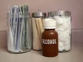 foto of medical supplies  - Medical supply jars in a doctor - JPG