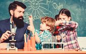 Older Kids Help Younger. School Club Education. Teacher And Pupils Test Tubes In Classroom. Chemistr poster