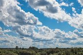 Wonderful Skyscape In Summer Day. Siberian Village, Russia poster