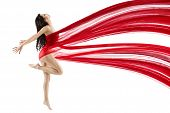 Woman Dancing With Red Flying Waving Chiffon Cloth. Dancer With Perfect Body Shape