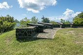 Medieval Cannons On The Hilltop Of Fort Hamilton On Bequia Island, St Vincent And The Grenadines, Le poster