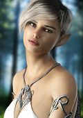 Fantasy Elf Female With Short Hair . Posing With A Woods Background. 3d Rendering poster