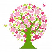 Tree With Flowers And Birds, Isolated On White Background, Vector Illustration