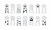 Cat Paws. Cute Hand Drawn Dog Or Kitten Claws And Paws, Cartoon Funny Kitty And Puppy Animal Foot. V poster