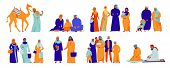 Isolated Arabs Icon Set With Different Situation Arabs Family And Islam Traditions Vector Illustrati poster
