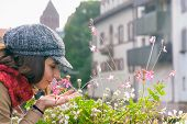 Beautiful Woman Smelling Flowers On Street. Happy People Lifestyle. Woman Smelling Flowers In Sunshi poster