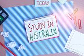 Word Writing Text Study In Australia. Business Concept For Going Into Foreign Country Order Complete poster