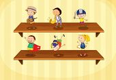 picture of hulahoop  - Illustration of kids on a shelf - JPG