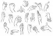 Ilustración de gestos de mano