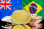 Concept For Investors In Cryptocurrency And Blockchain Technology In The New Zealand And Brazil. Bit poster