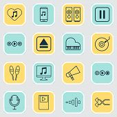 Music Icons Set With Music Application, Musical Device, Audio Buttons And Other Extract Device Eleme poster