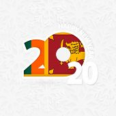 Happy New Year 2020 For Sri Lanka On Snowflake Background. Greeting Sri Lanka With New 2020 Year. poster