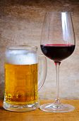 Beer mug and wine glass