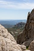 The View From Black Elk Peak, Formerly Called Harney Peak, With Quartz Rock Formations Jutting Out O poster