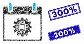 Mosaic Chip Gear Calendar Day Pictogram And Rectangular 300 Percent Watermarks. Flat Vector Chip Gea poster