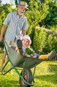 stock photo of summer fun  - Grandfather giving granddaughter ride in wheelbarrow in the garden - JPG