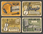 Music Vintage Retro Posters, Folk Musical Festival And Professions Dj Sound Recording Studio. Vector poster