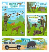 Hunter Club Society, Hunting Open Season And African Safari Hunt Posters. Vector Hunter In Camouflag poster