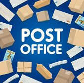 Mail Delivery, Post Office Logistics And Shipping. Vector Mailman Courier Service In Correspondence  poster