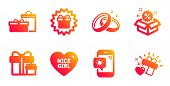 Weather Phone, Nice Girl And Wedding Rings Line Icons Set. Surprise Package, Sale And Surprise Gift  poster