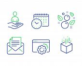 Mail Correspondence, Recruitment And Seo Gear Line Icons Set. Clean Bubbles, Calendar Time And Augme poster