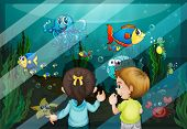 Illustration of kids at the aquarium -